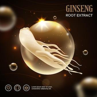 Anuncio realista para la raíz de ginseng