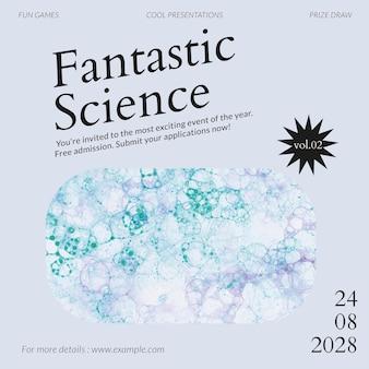Anuncio de redes sociales estéticas de evento vectorial de plantilla de ciencia