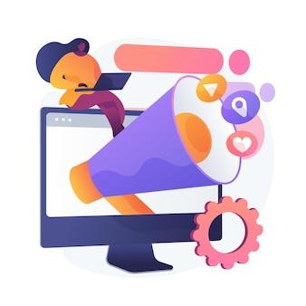 Anuncio en redes sociales, publicidad online, smm. anuncio de red, contenido multimedia, actividad de seguidores y geodatos. personaje de dibujos animados de administrador de internet. ilustración de metáfora de concepto aislado de vector.