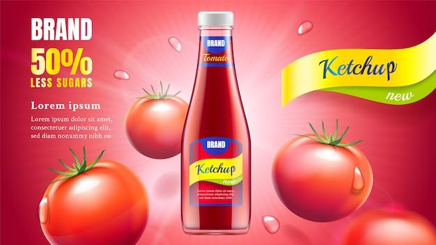Anuncio de salsa de tomate aislado en rojo