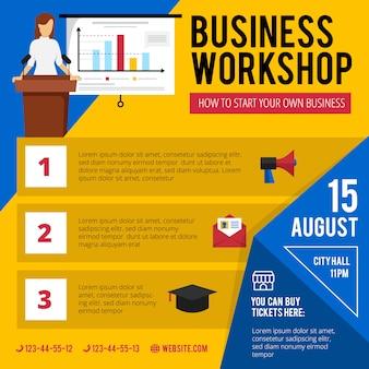 Anuncio de taller de capacitación para principiantes de negocios con fecha y hora del programa conciso