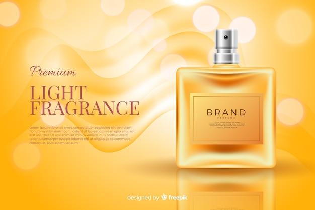 Anuncio de tarro de perfume realista