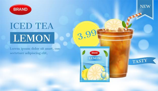 Anuncio de té de limón. vaso de té de limón con paquete