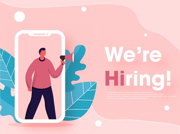 Anuncio de vacante de empleo en línea de hombre sin rostro en la pantalla del teléfono inteligente con hojas en rosa pastel