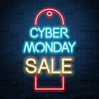 Anuncio de venta de cyber monday, texto realista de neón brillante