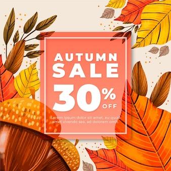 Anuncio de venta otoño dibujado a mano
