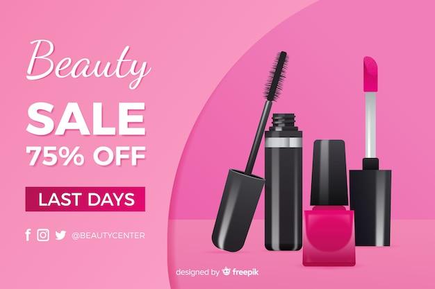 Anuncio de venta de productos cosméticos realistas.