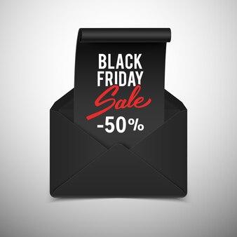 Anuncio de venta de viernes negro, cinta realista en sobre