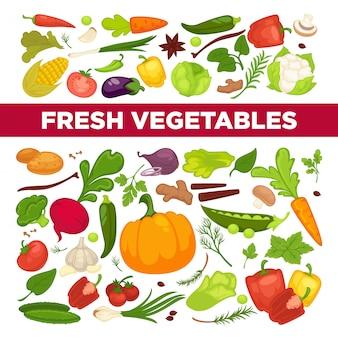 Anuncio de verduras frescas con productos orgánicos saludables para vegetarianos y vegetación de una granja llena de vitaminas