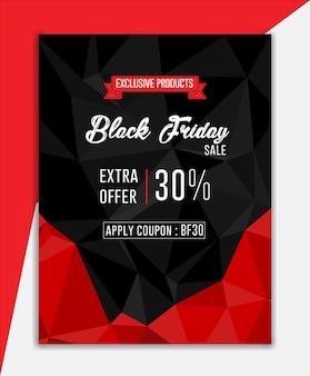 Anuncio de viernes negro anuncio de banner de anuncio en negro y rojo