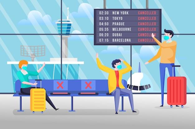 Anuncio de vuelo cancelado en el aeropuerto
