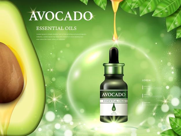 Anuncios de aceite esencial de aguacate, anatomía de la fruta en el lado izquierdo y aceite que gotea de la parte superior aislada