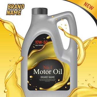 Los anuncios de aceite de motor realistas cuadran el fondo con imágenes del paquete de plástico del envase de la marca y la ilustración de texto