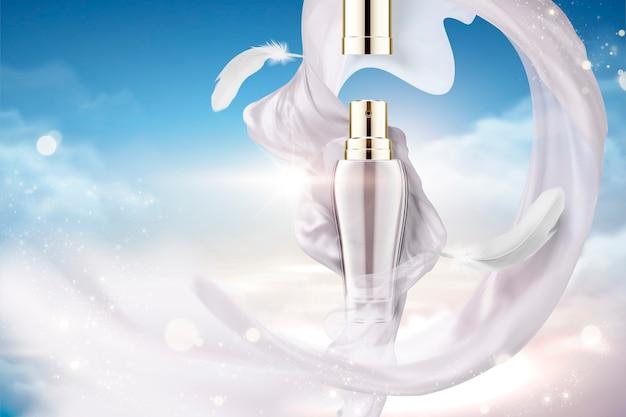 Anuncios de aerosol cosmético con satén blanco perla volador y plumas, fondo de cielo azul