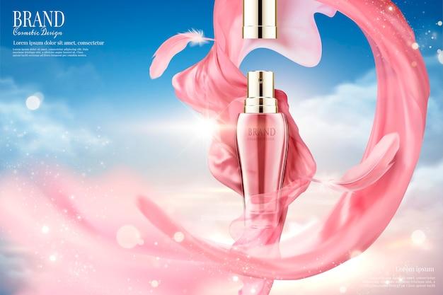 Anuncios de aerosol cosmético con satén rosa volador y plumas, fondo de cielo azul