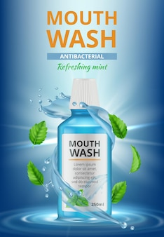 Anuncios de agua de enjuague. cartel médico dental enjuague bucal limpieza fresca salpicaduras de agua