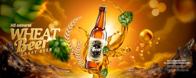 Anuncios de banner de cerveza de trigo con lúpulo volador y líquido en ilustración 3d
