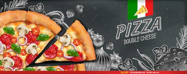 Anuncios de banner de pizza con ilustración de comida y estilo de grabado en madera sobre fondo de pizarra