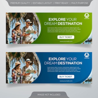 Anuncios de banner de viajes en redes sociales