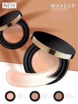 Anuncios de base compacta, producto esencial de maquillaje atractivo