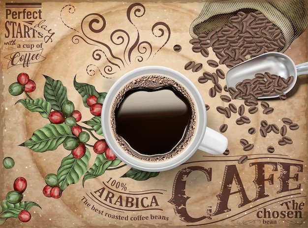 Anuncios de café negro, vista superior de café negro de ilustración sobre fondo de granos y cerezas de café grabado retro