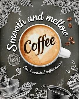 Anuncios de carteles de café con latte illustratin y decoraciones de estilo grabado en madera sobre fondo de pizarra