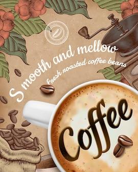 Anuncios de carteles de café con latte ilustrado y decoraciones de estilo grabado en madera sobre fondo de papel kraft