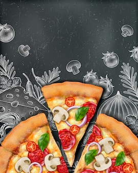 Anuncios de carteles de pizza con ilustración de comida y estilo de grabado en madera sobre fondo de pizarra, vista superior
