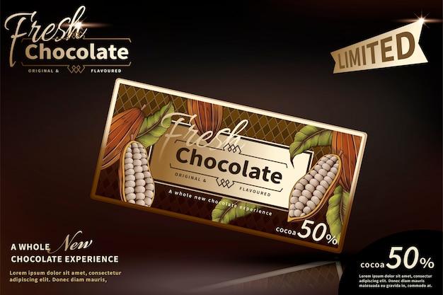 Anuncios de chocolate premium con paquete clásico sobre fondo marrón