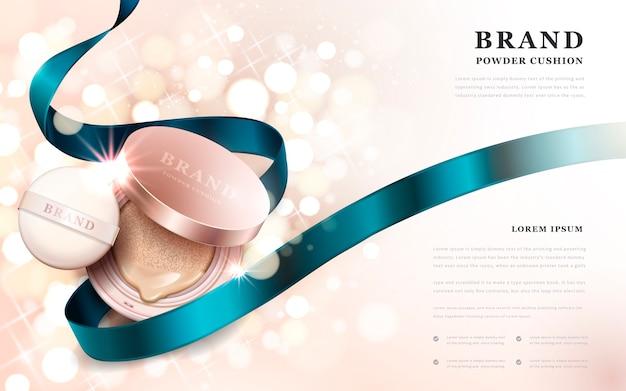 Anuncios de cojín de polvo, producto rosa dorado con cinta azul aislada