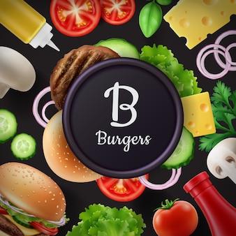 Anuncios de composición o menú con ingredientes de hamburguesa