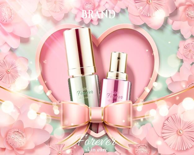 Anuncios de cosméticos con botella de vidrio y fondo de flores de papel rosa