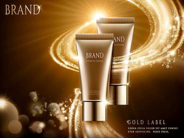 Anuncios de cosméticos elegantes, paquete de tubo marrón con efecto de luz brillante en la ilustración