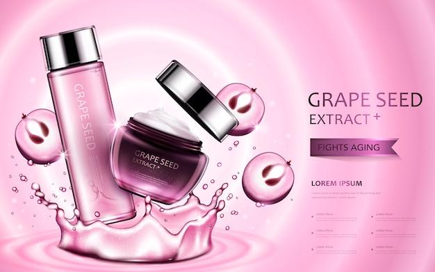 Anuncios cosméticos de extracto de semilla de uva, hermosos envases con ingredientes y salpicaduras de elementos de agua en la ilustración 3d