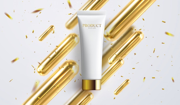 Anuncios de crema, tubo blanco perla con líquido de textura cremosa en la ilustración 3d aislado sobre fondo bokeh brillo