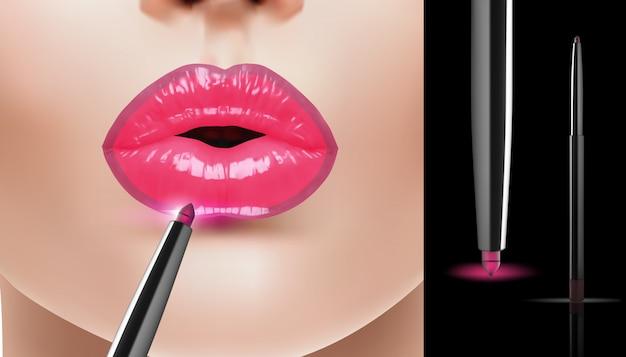 Anuncios de delineador de labios rosa realista de moda, ilustración vectorial.