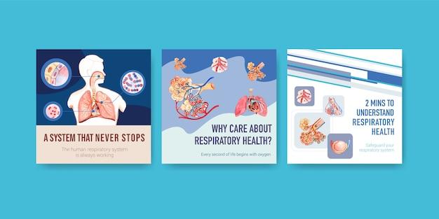Anuncios de diseño de plantillas con anatomía humana de pulmón y respiratorio