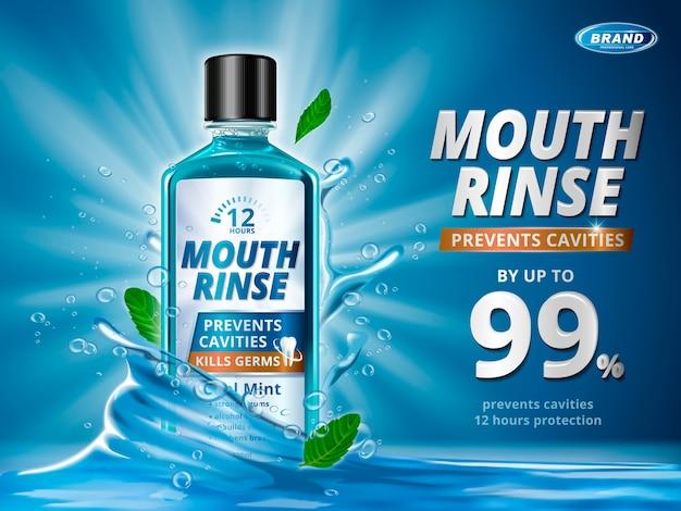 Anuncios de enjuague bucal, producto de enjuague bucal refrescante con salpicaduras de elementos aqua y hojas de menta en la ilustración 3d