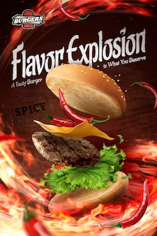 Anuncios de hamburguesas frías calientes con fuego ardiente en la ilustración 3d