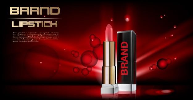 Anuncios de lápiz labial rojo cosmético con fondo rojo y elementos de oro en polvo en 3d illustratio