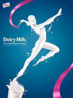 Anuncios de leche, mujer elegante haciendo gimnasia rítmica y saltando de un vaso de leche en la ilustración, fondo azul.
