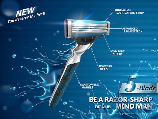 Anuncios de maquinilla de afeitar para hombres ilustración