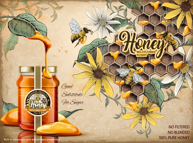 Anuncios de miel natural, deliciosa miel goteada de hojas con frasco de vidrio realista en la ilustración, colmenar retro y fondo de abejas de miel en estilo de sombreado de grabado