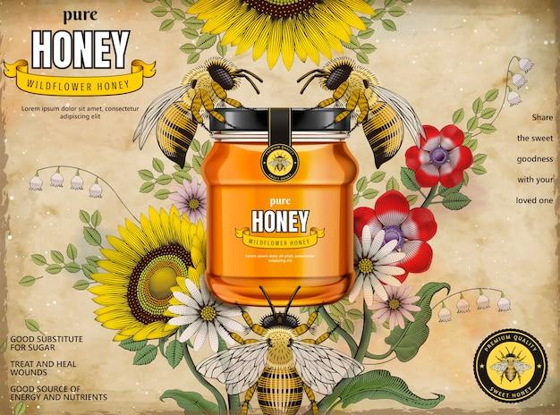 Anuncios de miel retro, frasco de vidrio en la ilustración con abejas melíferas y elegantes flores a su alrededor, grabado de fondo de estilo de sombreado