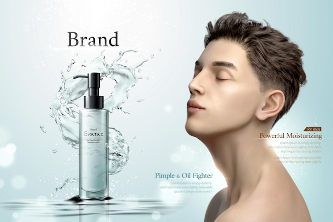 Anuncios de productos de esencia con salpicaduras de agua y hombre con la barbilla cerrada de ojos