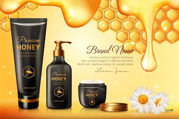 Anuncios de productos orgánicos de suero para el cuidado de la piel honey con panales con plantilla de texto de muestra dorada