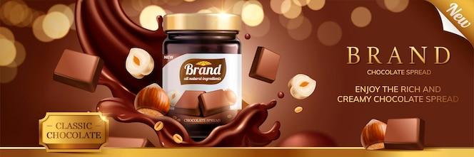 Anuncios de propagación de chocolate clásico con salsa de salpicaduras que se vierte desde la parte superior sobre fondo de brillo bokeh, ilustración 3d