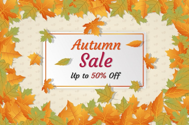 Anuncios de redes sociales de descuento de banner de venta de otoño