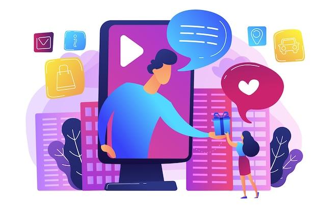 Anuncios de redes sociales dirigidos. campaña promocional de sorteos, smm. publicidad interactiva, análisis de participación de clientes, concepto de servicios de marketing efectivos.