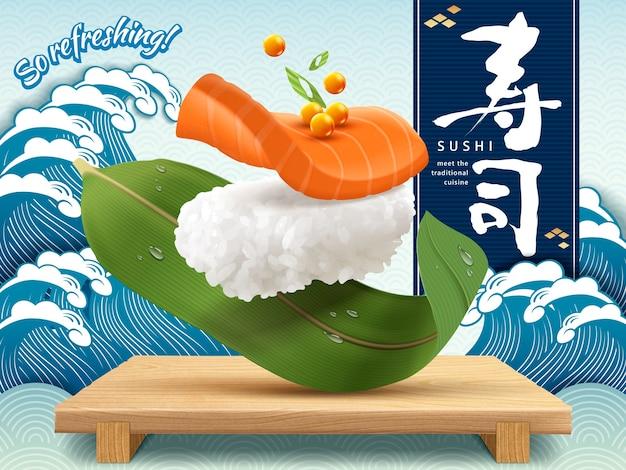 Anuncios refrescantes de sushi de salmón